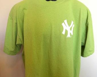 90s New York Yankees Starter Shirt Vintage Tee MLB Baseball Neon Lime Green Playoffs World Series Retro Rare Judge Chapman Jeter USA Large L