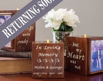 Memorial Gift Set, Personalized Sympathy Gift, Pet Memorial Gift, Wood Home Decor, Memorial Candle, Remembrance, Your Wings Were Ready