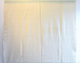 Vintage Creme and Turquoise-Blue Wool Blanket