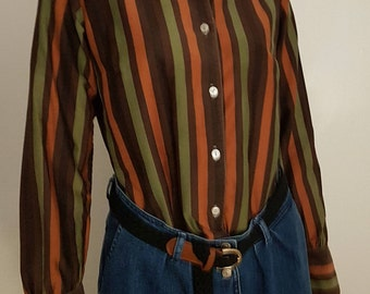 Vintage 60's NORMA TULLO Orange, Brown & Green Cotton Striped Long Sleeve Blouse