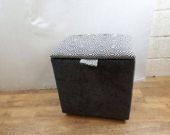 Large Dark Grey & Pattern top fabric Stool/Storage Box/Pouffe
