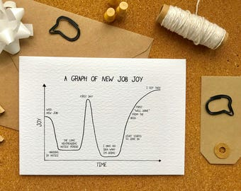 Graph of new job joy over time | funny card for new job | leaving card