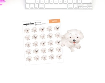 Maltese Planner Stickers | 25 Dog Stickers for ANY Planner