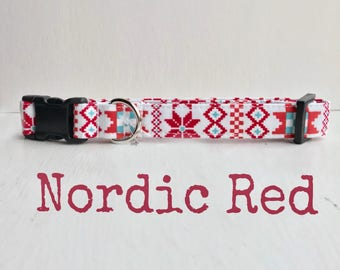 DOG COLLAR, Dog Collars, The Nordic Red, Winter Dog Collar, Girl Dog Collar, Boy Dog Collar, Winter Quilt Dog Collars
