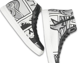 Comics Sneakers - Black and White - Canvas and Microfibre