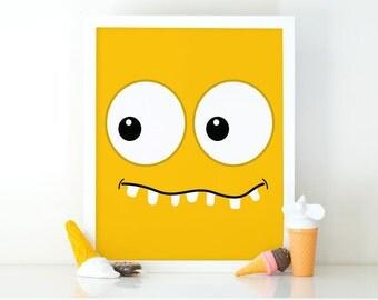 Yelllow Monster, Little Monster, Kids Wall Art, Monster Print, Cute monster, Instant Download, Nursery Decor, Printable art, monster Poster