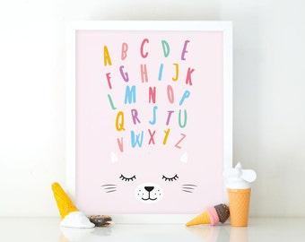 Abc cat, Alphabet Wall Art Set, Kitten Print, Alphabet set, Instant Download, Nursery Wall Art, Abc Wall Art, Girls room decor, Alphabet art