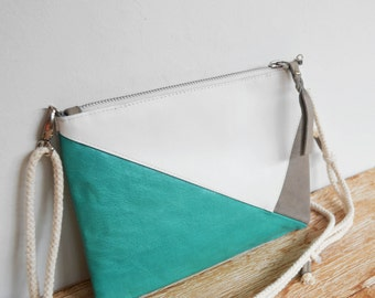 "Leather wallet with strap white, emerald green and gray ""PANTAI"""