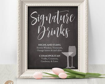 Wedding Signature Drinks Sign, Editable, Reception Sign / Signature Drinks / Chalkboard Sign, PDF, Instant Download, 8x10 #PTL1_01_26