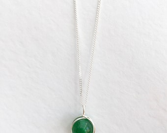 Jade necklace, 925 sterling silver jade necklace, green Jade pendant, silver jade necklace, light green jade jewellery, light jade