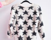 White Sweater | Fluffy | Ugly Sweater | Sweater Pattern | Knit Sweater | Cozy Sweater | Navy Blue | Stars | Vintage Style | Faux Fur | Furry