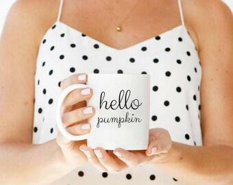 Fall coffee mug, fall mug, hello pumpkin, psl mug, psl coffee mug, hello pumpkin mug, morning pumpkin, halloween mug, autumn mug, pumpkin