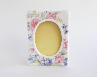 Vintage Cottage Chic Ceramic Picture Frame, Fine China Japan