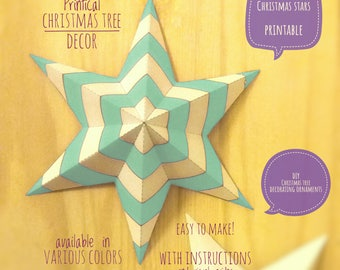 Christmas stars, DIY, printable, Christmas decor, diy Christmas ornaments, Christmas art, holiday decor, stars,4 Christmas tree, GREEN light
