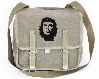 Che Guevara Canvas Vintage Messenger Bag, Green Military Shoulder Bag with, Cross body Bag from 1980's Gift