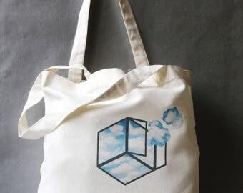 bag cotton natural tote bag arty long handles