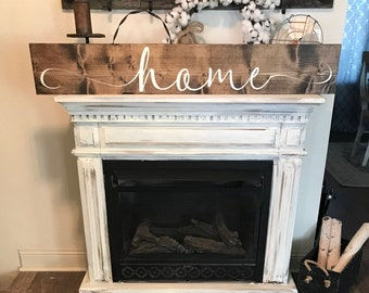 Large home sign / 4 ft or 5 ft farmhouse style sign / hand painted wall decor / rustic home sign