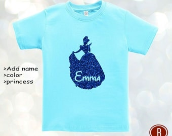 Princess Cinderella Moana Belle Beauty and Beast Snow White Sleeping Beauty Disney Kids T-shirt Personalized Name Costumized