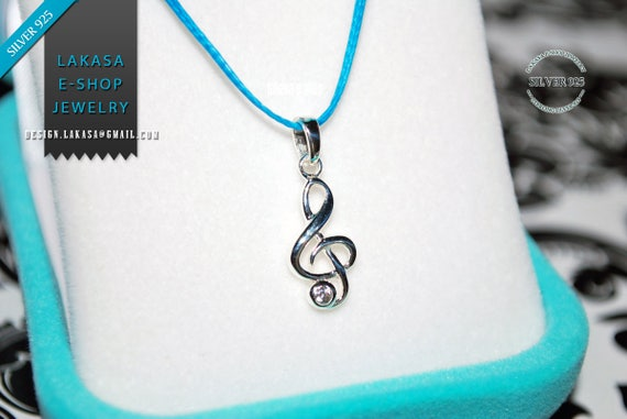 Music Clef Symbol Necklace Sterling Silver Rhodium plated Jewelry Gift idea Birthday Love Rock Classic Musician Lover Violin Piano Jazz Chic