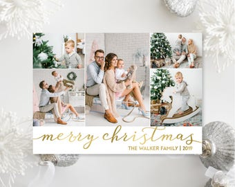 Printable OR Printed Photo Christmas Cards - Faux Gold Foil Photo Collage Christmas Cards - Simple, Modern Cards with Five Pictures - 054 P4