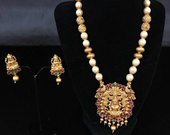 Temple Jewelry - South Indian Jewelry Set - Indian Bridal Set - Pakistani Jewelry - Bollywood Bridal Jewelry - Kundan Jewelry - Indian Mala