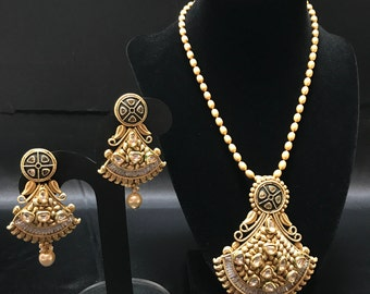 Indian Pendant Set - Indian Jewelry - Pakistani Jewelry - Indian Bridal - Kundan Jewelry - Antique Gold - Matte Gold Finish - Bollywood -