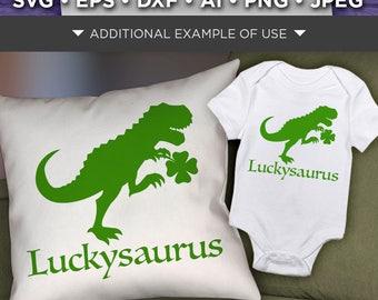 Dinosaur Svg File - Luckysaurus St. Patricks Day Dinosaur - Lucky Green Dinosaur Shirt SVG File - Shamrock Dinosaur - 1066