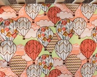Pink Hot Air Balloon Flannel Crib Bedding. Hot Air Balloon Nursery. Hot Air Balloon Baby Bedding