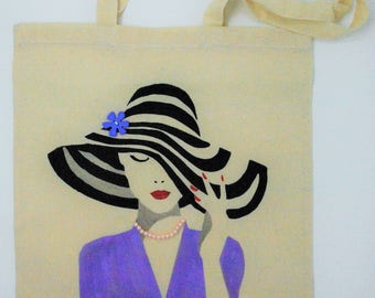 "Tote bag ""Lady in lilac"", cotton bag, reusable bag, shopping bag, shoulder bag, shopping bag, hand painted bag"