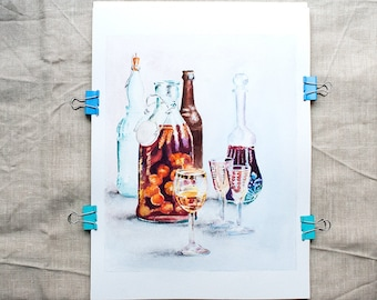 Red white painting Original watercolor Small painting Wine lover gift Wine bottle art Still life with bottles painting Glass painting