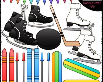 Winter Sports Equipment Clip Art and B&W Set