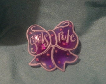 Upcycled Hat/Lapel Pin - Girls Rule Purple Bow