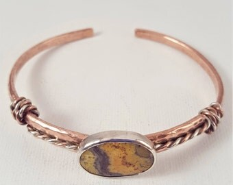 Recycled Copper and Bumblebee Jasper Cuff