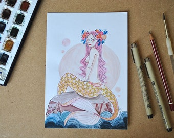 Original illustration - Mermaid with pink hair (watercolor)