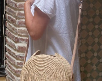 straw circular bag, raffia bag,summer tote,round basket bag,round shoulder bag,rattan round bag,raffia bag,ata bagmarket bag,french basket