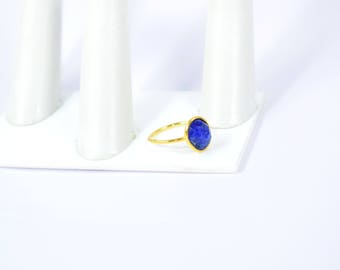 Sapphire ring , oval ring , adjustable ring , stacking ring , gold plating ring, September birthstone ring ,blue Color ring