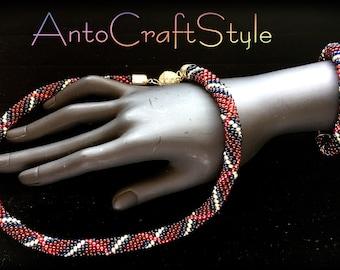 Gemstone Choker handcrafted glass beads bracelet more crocheting