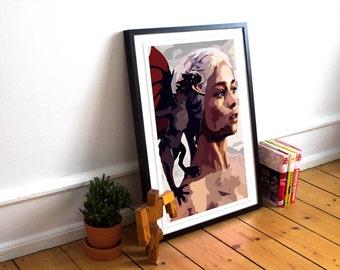 Khaleesi Poster / Game of Thrones inspired Art Print / Daenerys Targaryen / Minimalist / Game of Thrones Poster / GOT / Mother of Dragons