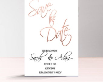 Elegant Save the Date Card Printable, Rose Gold Save the Date, Simple Save the Date Card Digital, Instant Download, Wedding Save the Date