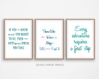 Alice in Wonderland Quotes, Three Piece Wall Art, Triptych Wall Art, Instant Download Printable Art, Set of 3 prints, Watercolor lettering