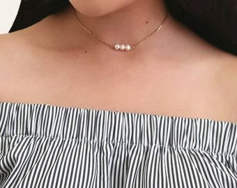 Dainty Chain Choker, Simple Pearl Bar Chain Choker, Chain Choker, Gold Metal Choker, Gold Filled Jewelry for Women, Chain Choker for Women