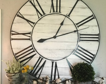 big wall clock whitewashed roman numeral wall clock large wall clock roman numeral big clock oversized