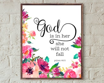 bible verse wall art for nursery decor girl god is in her she will not fall floral print scripture wall art christian gifts printable art