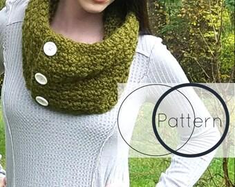 Cowl Crochet Pattern/ Infinity Scarf Crochet Pattern/ Easy Beginner Cowl Pattern/ Buttoned Infinity Scarf/ The Posie Crochet Cowl
