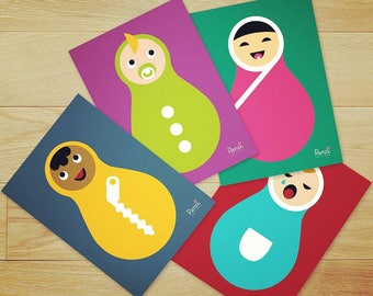 12 birth predictions cards / Baby shower