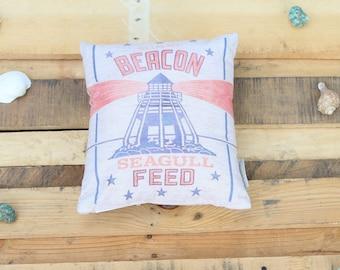 Summer Beach Pillow- Lighthouse Beacon Seagull Feed
