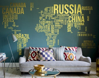 World Map Wall Decal Etsy