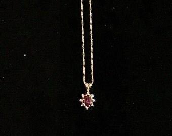14K Gold Tourmaline & Diamond Pendant On Chain