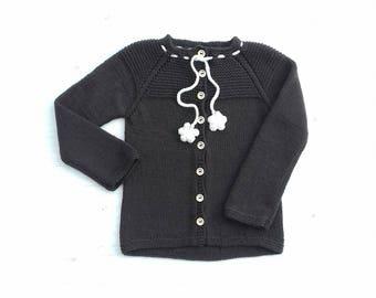 Cardigan for girl, Brown girl cardigan, Knit girl brown sweater, Flower girl sweater, Merino wool girl sweater, Brown shrug for girl, Size 5