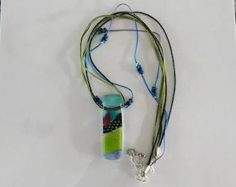 Glass Pendant Necklace in Blues & Greens